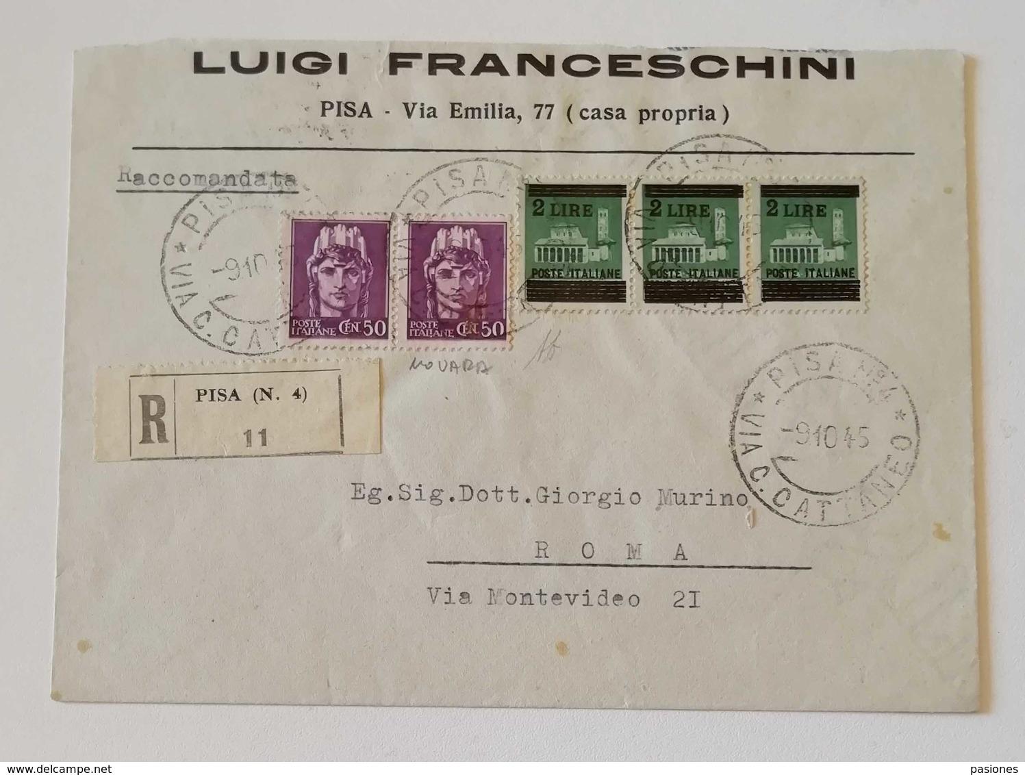 Busta Di Lettera Raccomandata Pisa-Roma - 09/10/1945 - Marcofilía