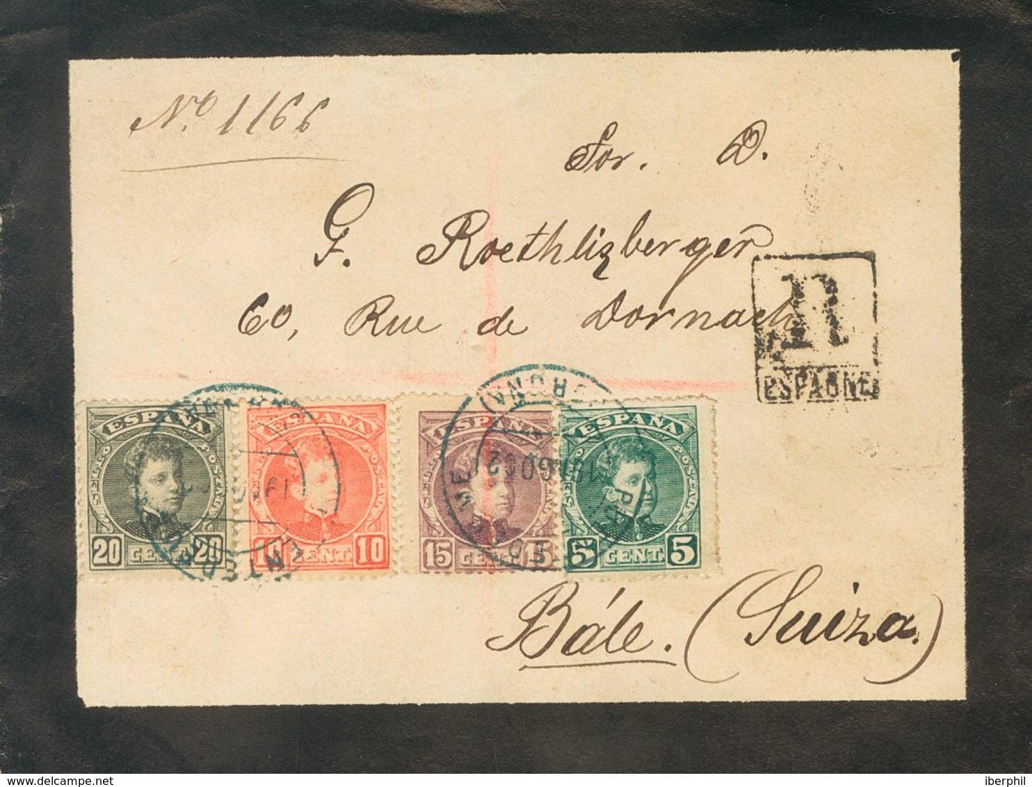 1902. 5 Cts Verde, 10 Cts Rojo, 15 Cts Lila Castaño Y 20 Cts Negro. Certificado De PUENTEDEUME A BASILEA (SUIZA). Matase - Spagna