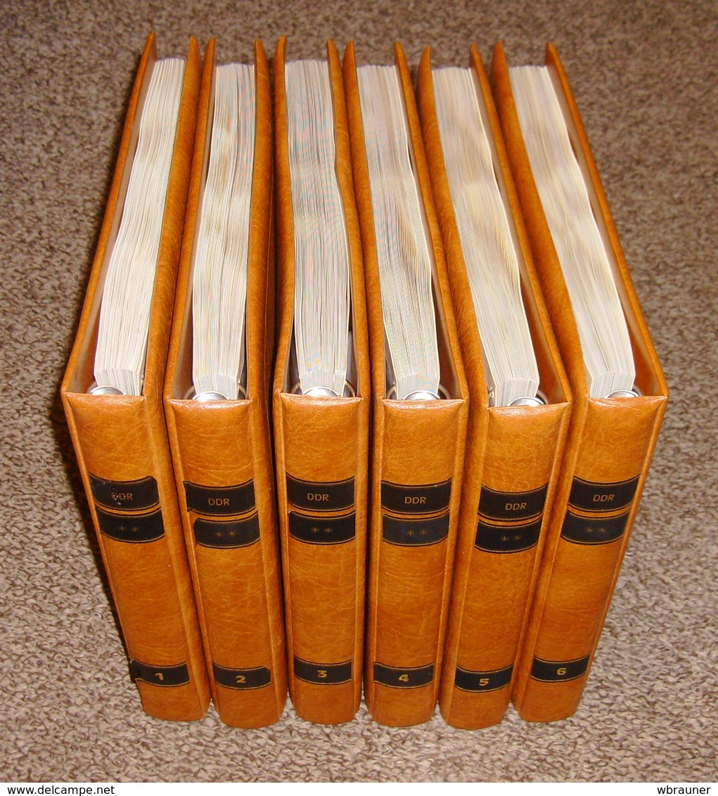 DDR Vordruckblätter SAFE Dual 1949 - 1990 Komplett In 6 Lederfarbenen Ringindern Typ Yokama  Neupreis über 1000,- Euro ! - Albums & Reliures