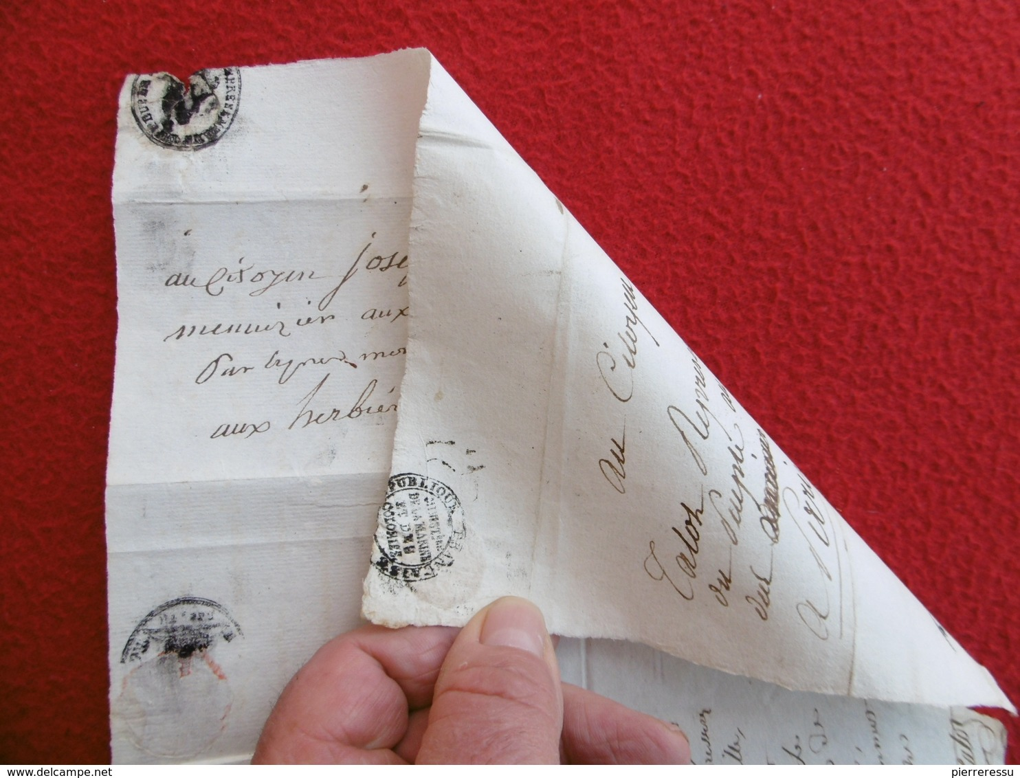 INEDIT LETTRE AVEC REPONSE MICHEL LOUIS TALOT MARQUE REPRÉSENTANT DU PEUPLE FRANCAIS 1797 A LIRE - 1701-1800: Precursores XVIII