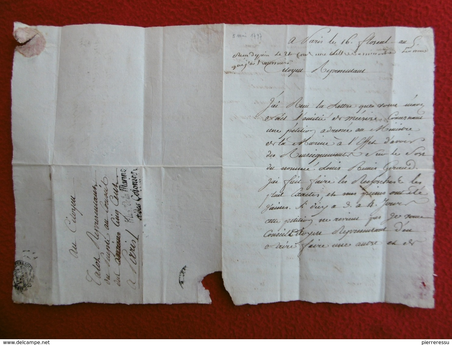 INEDIT LETTRE AVEC REPONSE MICHEL LOUIS TALOT MARQUE REPRÉSENTANT DU PEUPLE FRANCAIS 1797 A LIRE - Marcophilie (Lettres)