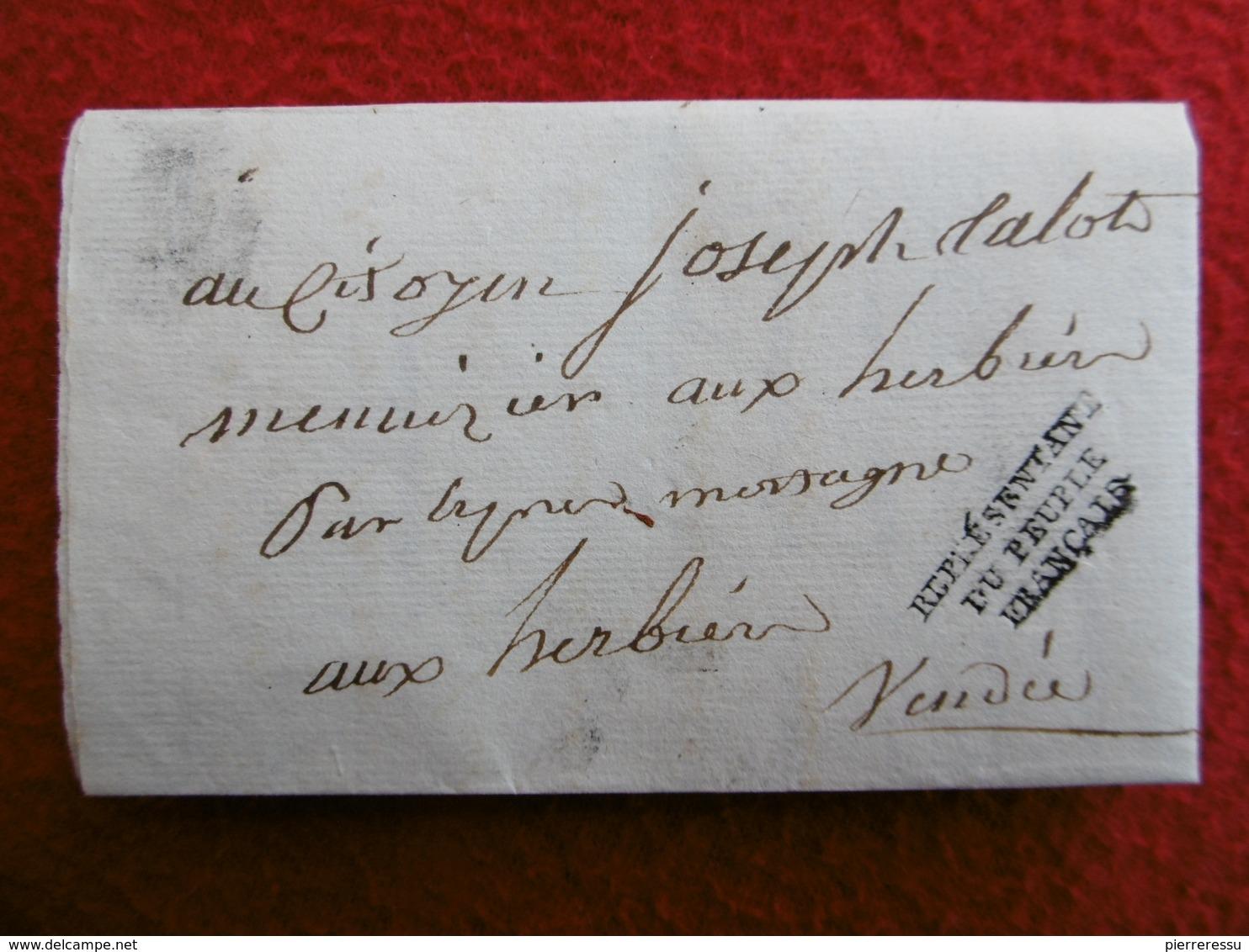 INEDIT LETTRE AVEC REPONSE MICHEL LOUIS TALOT MARQUE REPRÉSENTANT DU PEUPLE FRANCAIS 1797 A LIRE - Storia Postale
