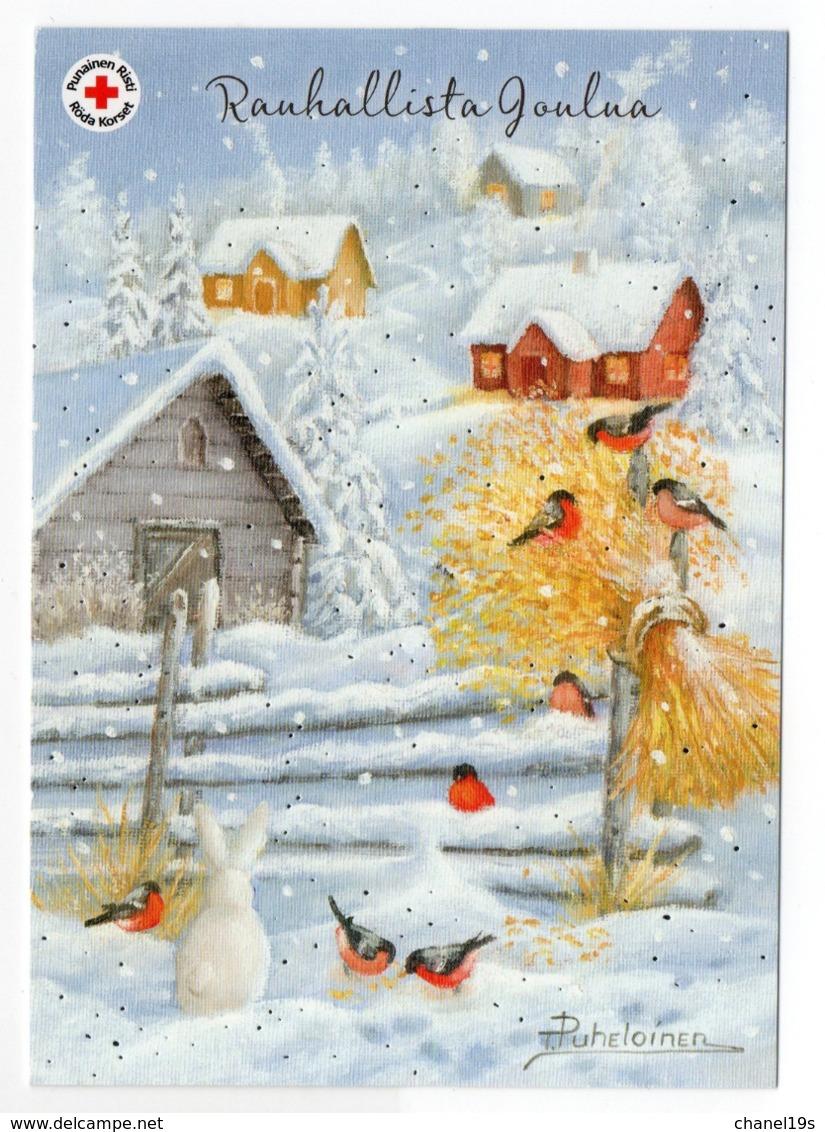 Postal Stationery RED CROSS - FINLAND - Postage Paid - CHRISTMAS - HARE - BIRDS / BULLFINCHES - Stamp BULLFINCH - Postwaardestukken