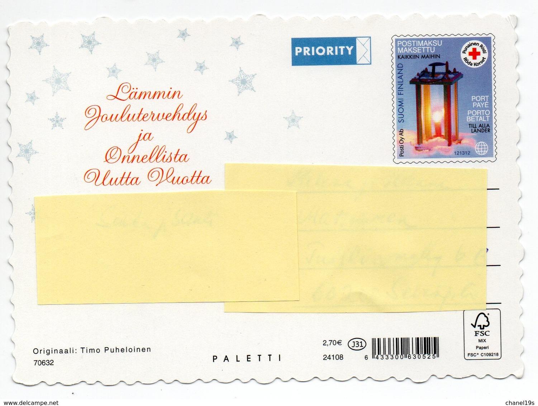 Postal Stationery RED CROSS - FINLAND - Postage Paid - CHRISTMAS - BIRDS / BULLFINCHES - Stamp LANTERN - Postwaardestukken