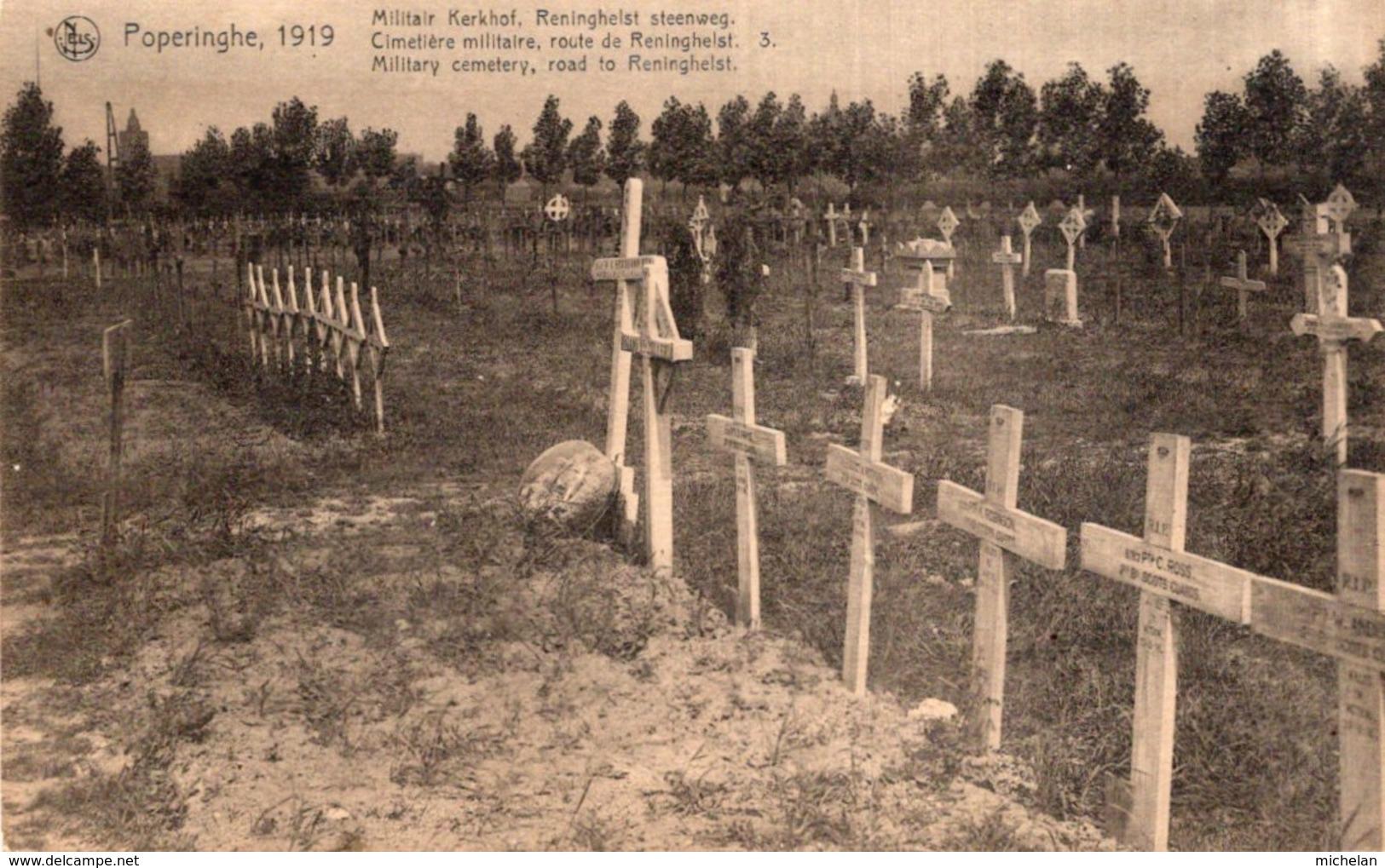 CPA   BELGIQUE---POPERINGHE---CIMETIERE MILITAIRE, ROUTE DE RENINGHELST---1919---TRES RARE ? - Poperinge