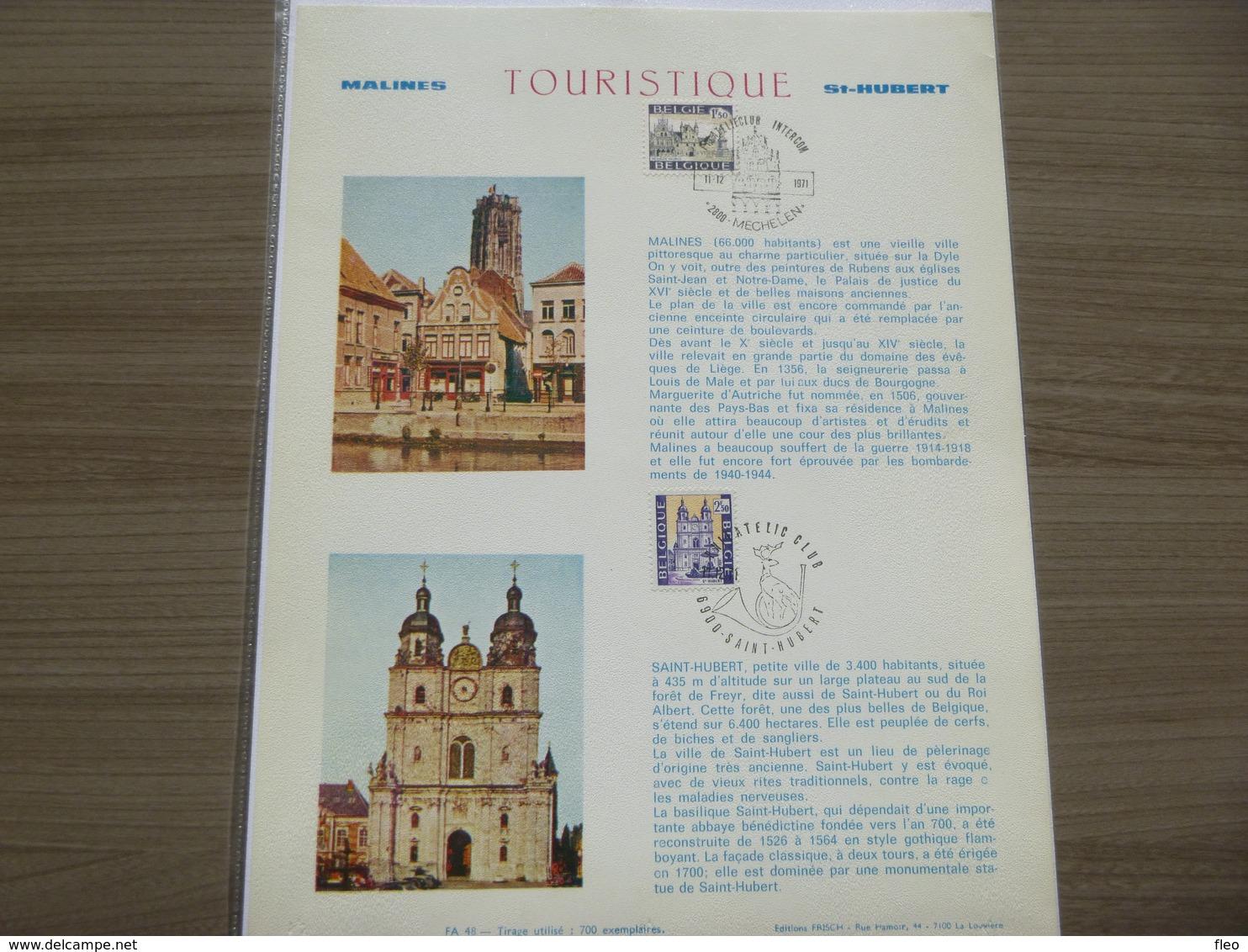 "BELG.1971 1614 & 1615 FDC Filatelic Card "" Mechelen & St-Hubert "" - FDC"