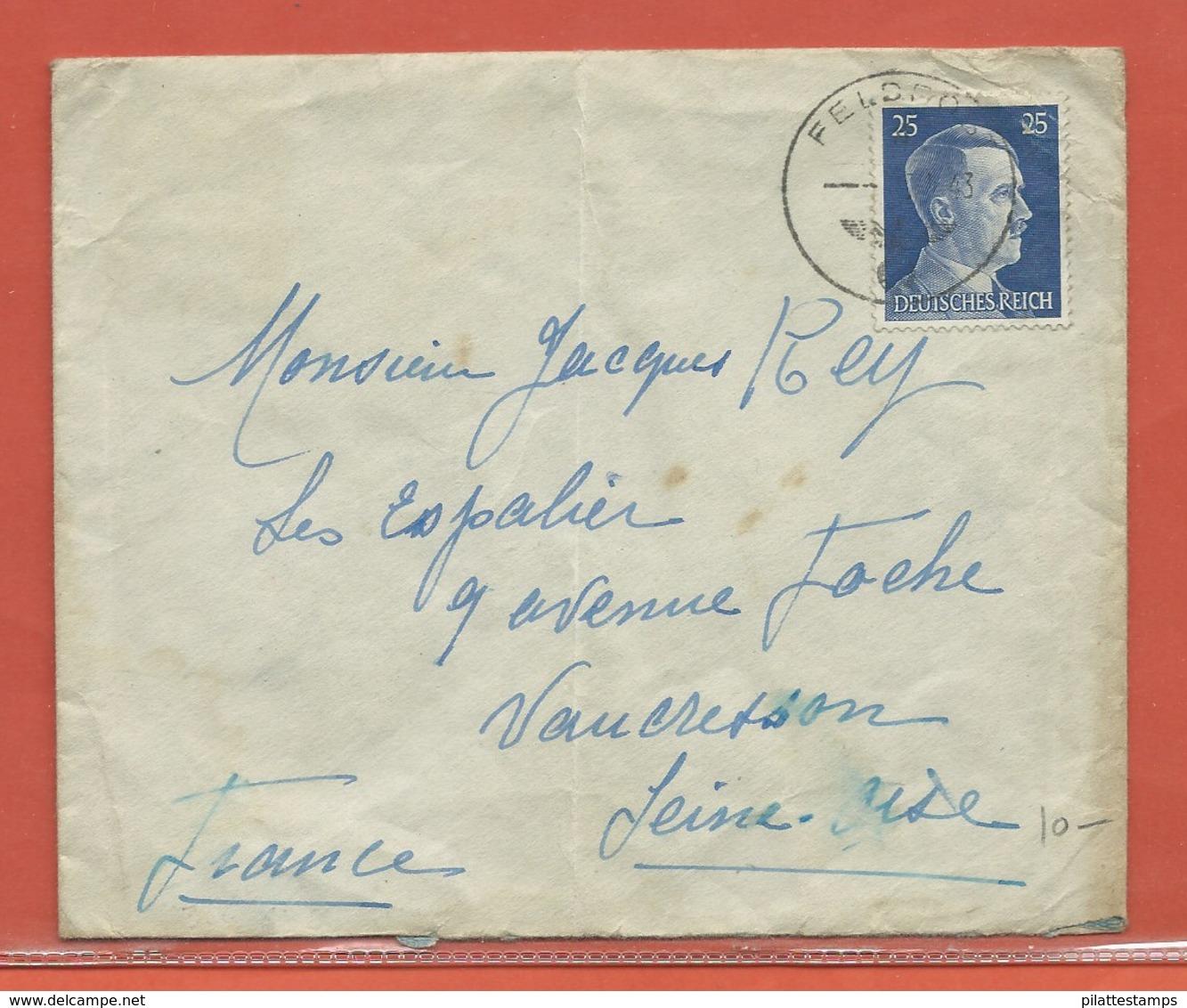 ALLEMAGNE LETTRE FELDPOST DE 1943 DE JERSEY POUR VAUCRESSON FRANCE - Occupation 1938-45