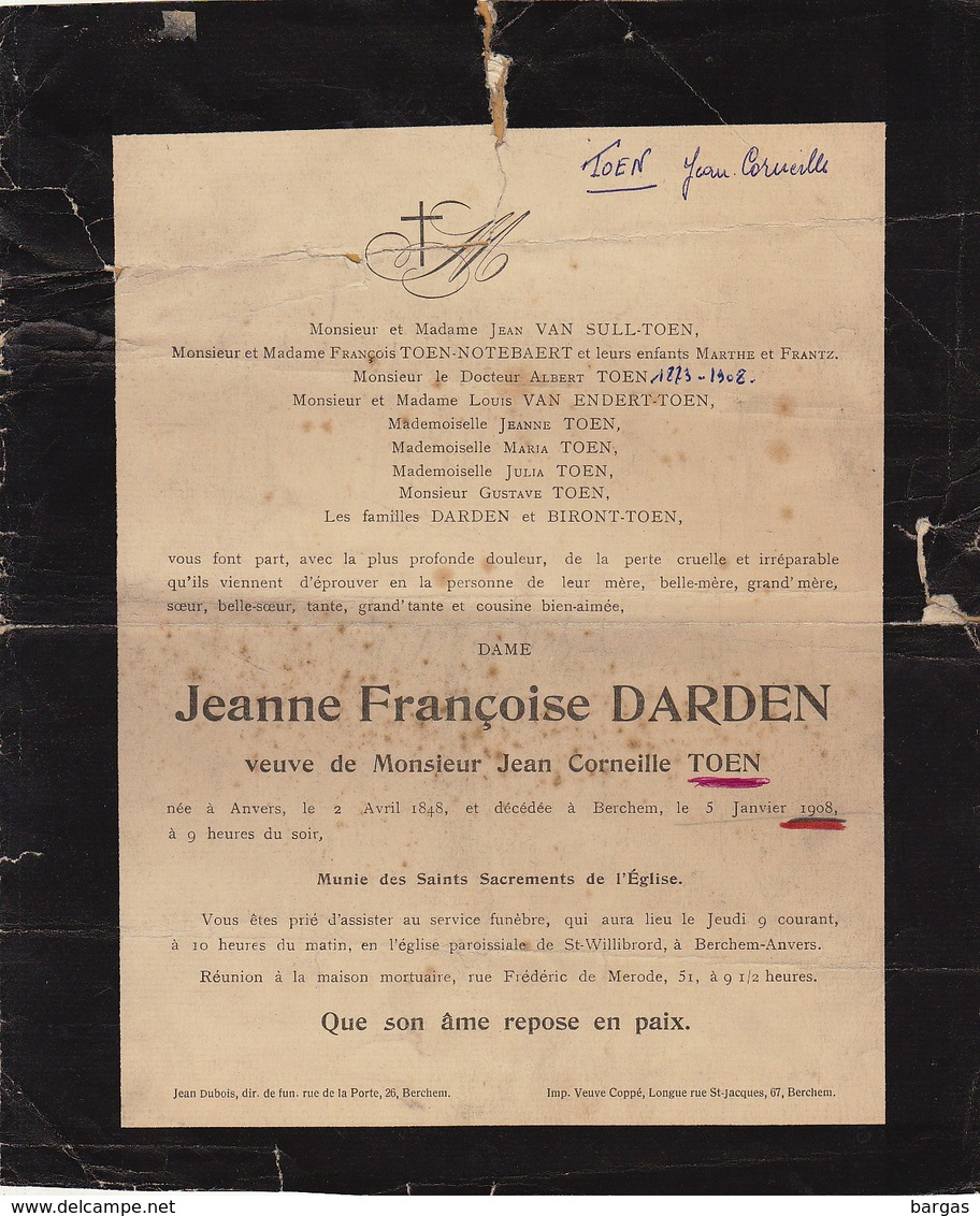 Faire Part De Décès Jeanne Darden Anvers Berchem  Famille Sull Endert Biront Toen - Overlijden