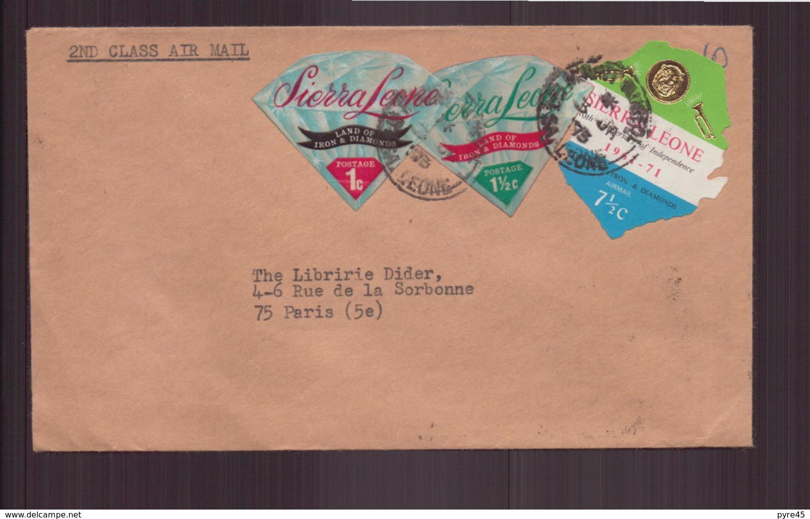 Enveloppe De Mount Aureol Pour Paris, 1973 - Sierra Leone (1961-...)