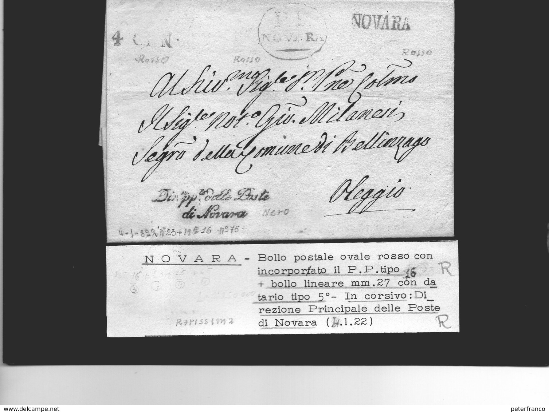 CG25 - Lett. Da Novara X Oleggio 4/1/1822 - 1. ...-1850 Prefilatelia