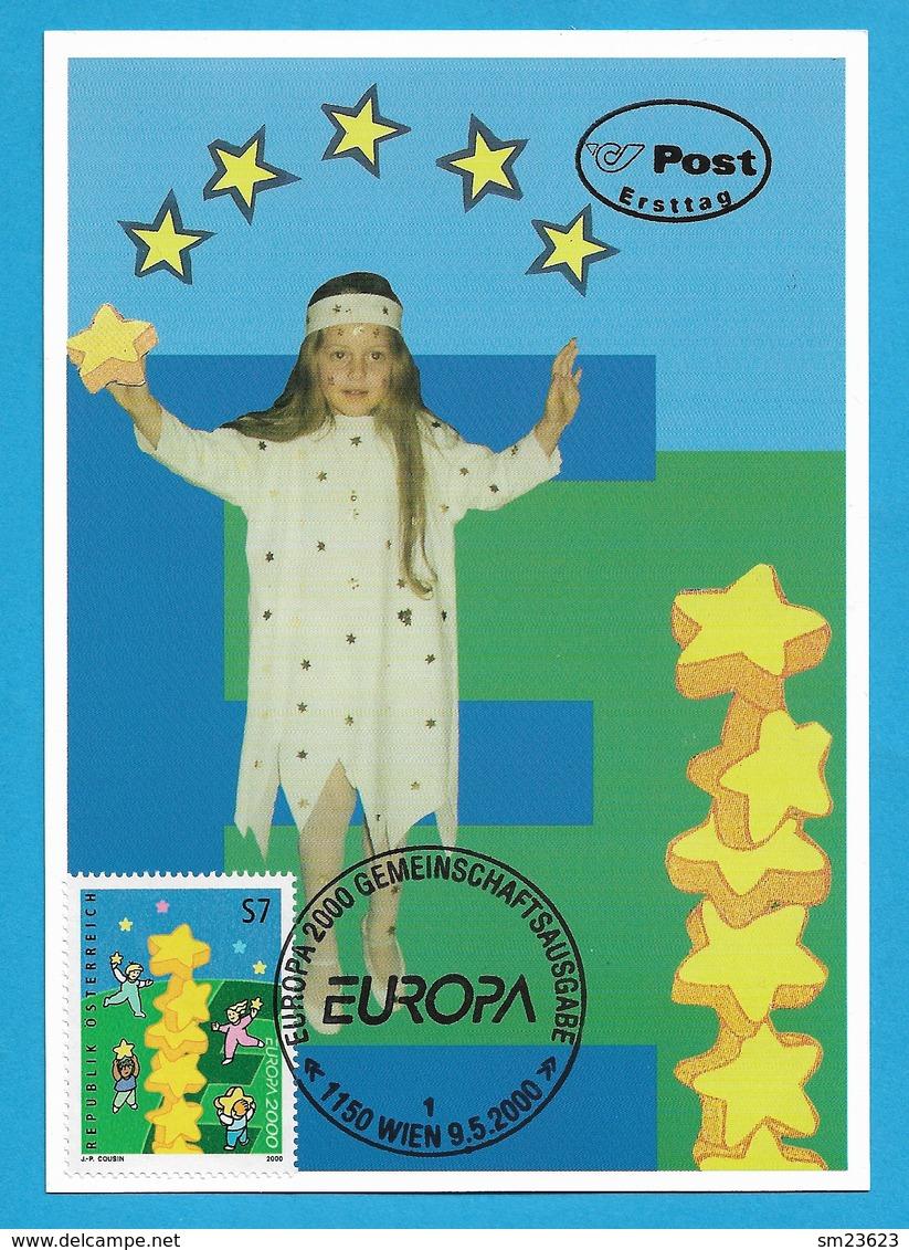 Österreich 2000  Mi.Nr. 2311 , EUROPA CEPT - Kinder Bauen Sternenturm - Maximum Card - Ersttag Wien 9.5. 2000 - Europa-CEPT