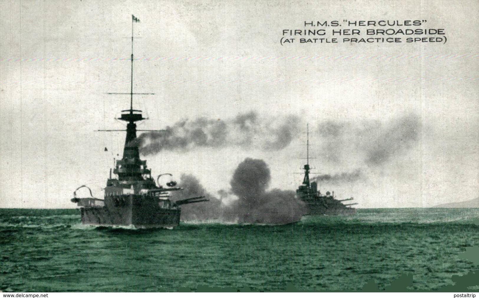 "H.M.S. ""Hercules""  Fring Her Broadside. Barco. Ship. Naviere - Guerra"