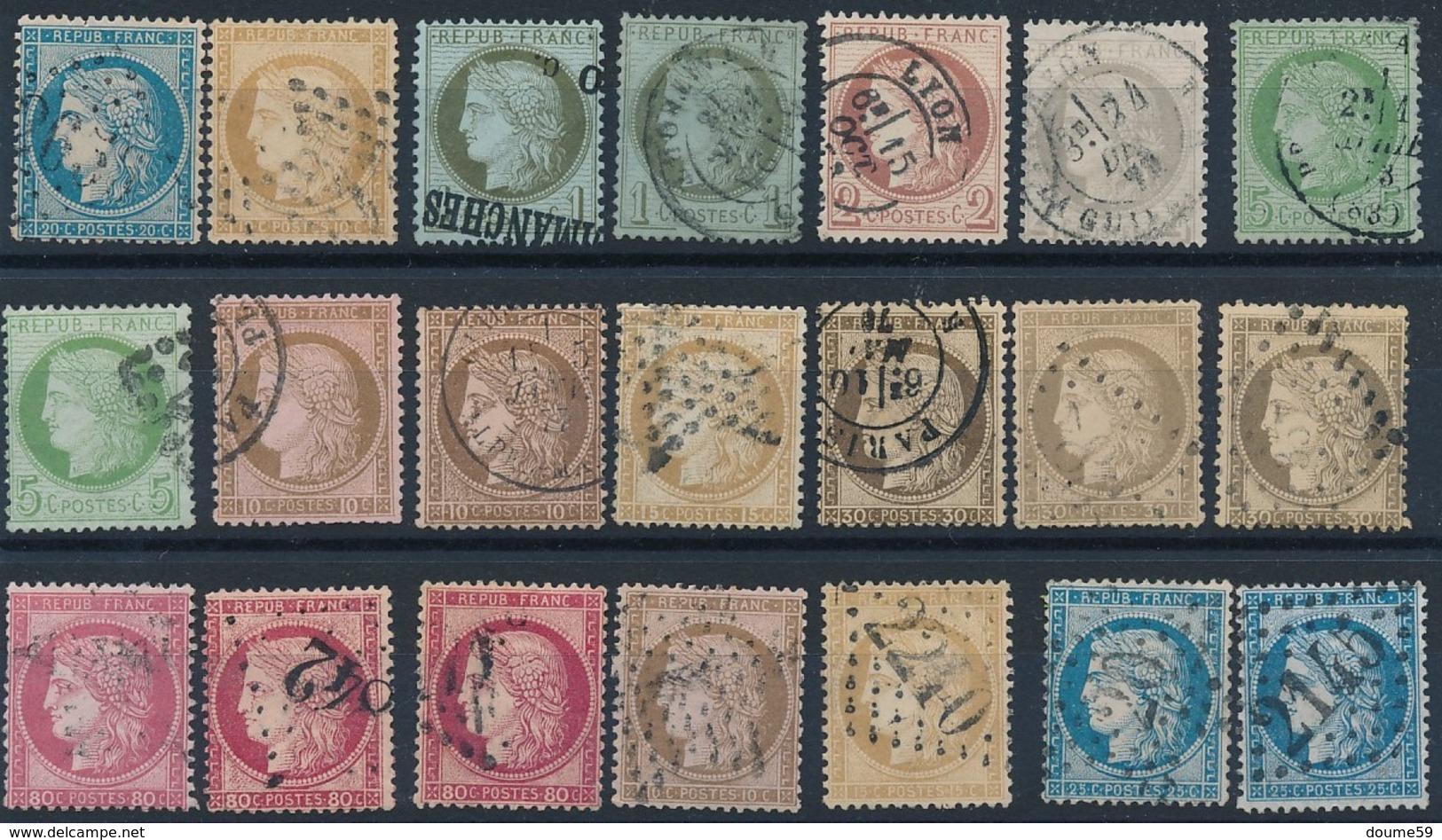 N-721: FRANCE:  Lot  Avec CERES Obl N° Entre 37 Et 60 - 1871-1875 Cérès