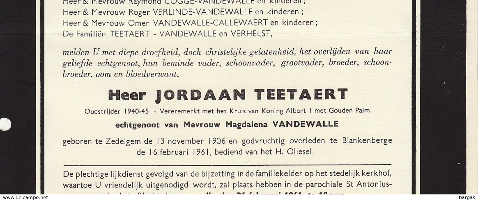 Faire Part De Décès Marie Louise Tavernier Blankenberge - Overlijden