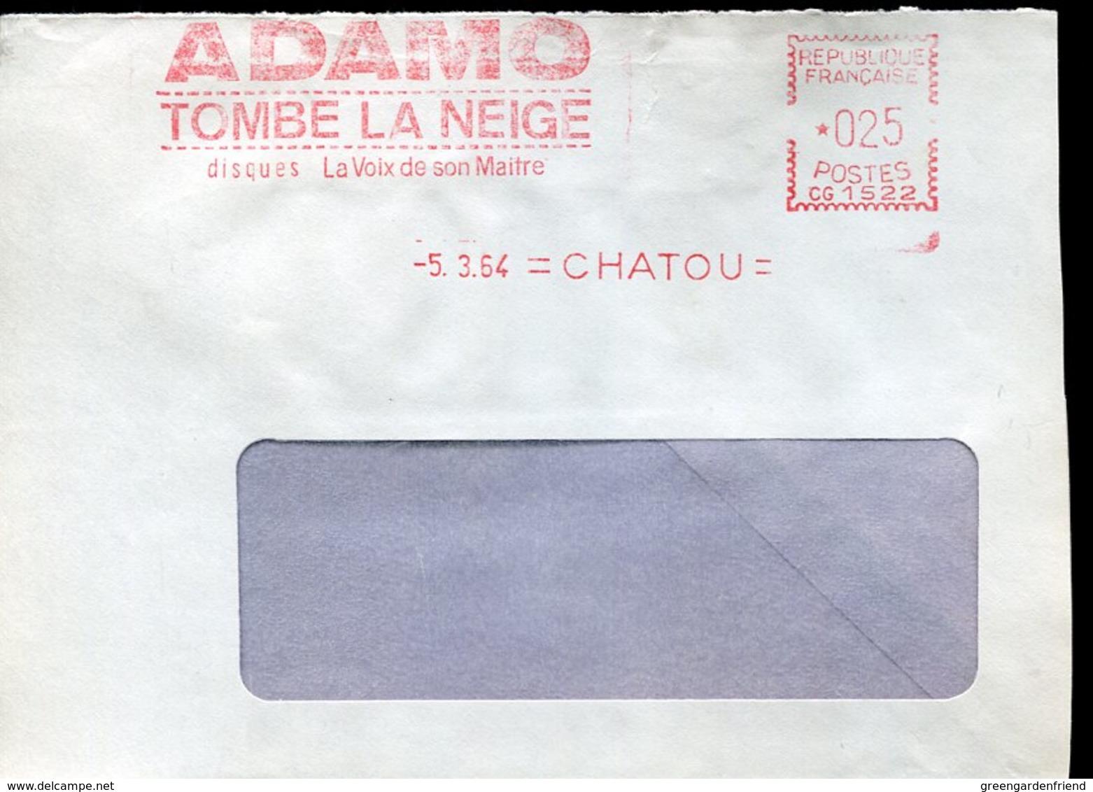 52433 France, Red Meter Freistempel EMA,1964 Chatou,  Adamo  Tombe La Neige Disques La Voix Du Maitre - EMA (Printer Machine)