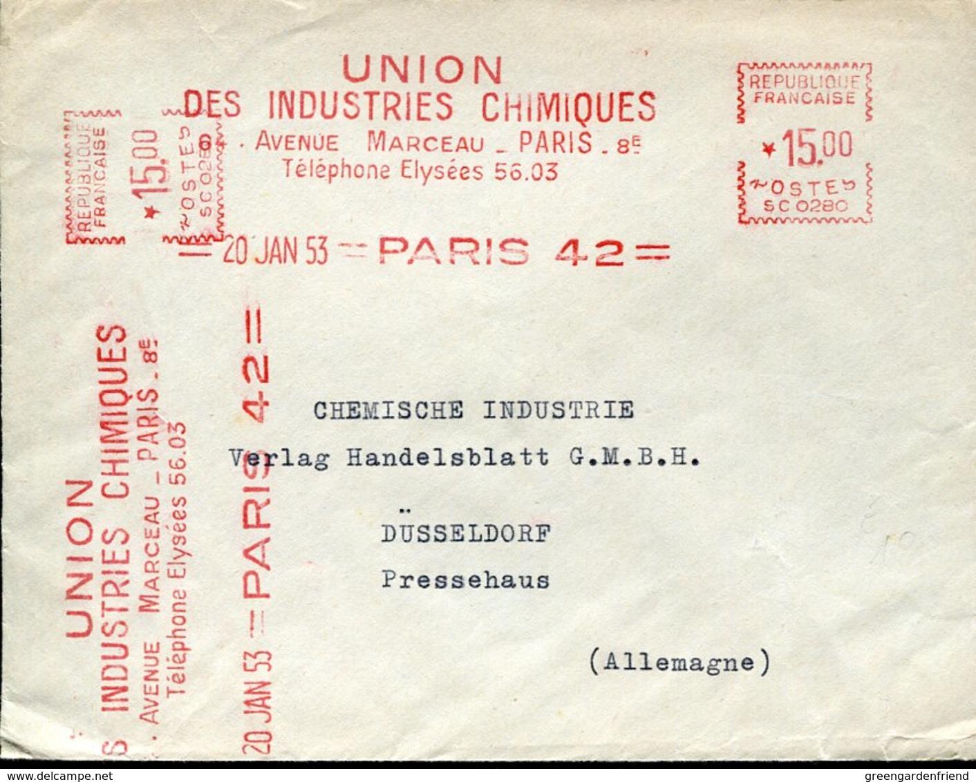 52454 France, Red Meter Freistempel EMA, 1953 Paris  Union Des Industries Chimiques - EMA (Printer Machine)