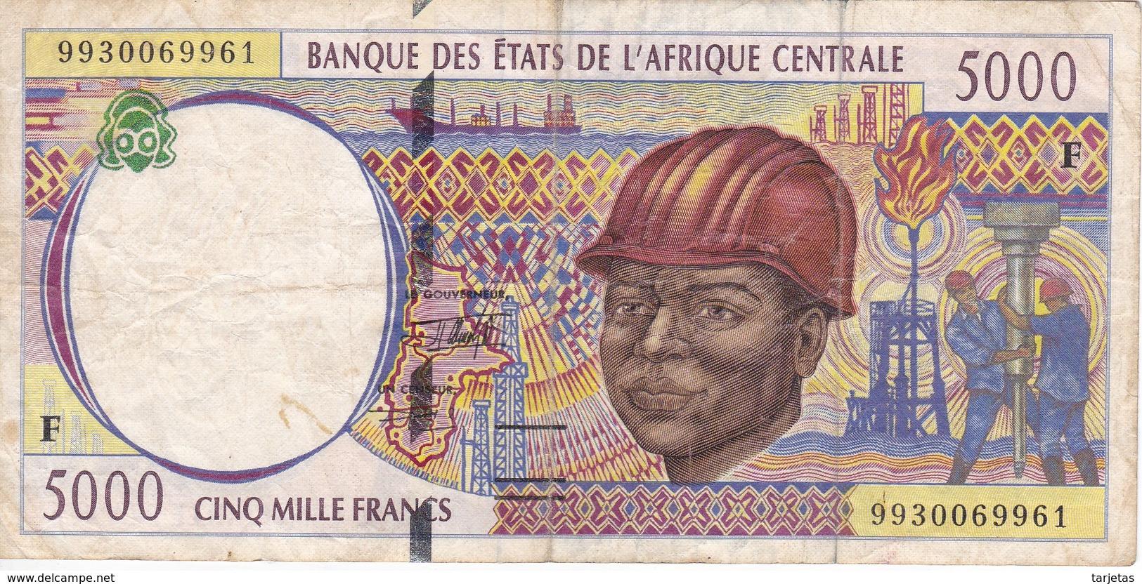 BILLETE DE ESTADOS CENTRO AFRICANOS DE 5000 FRANCS DEL AÑO 1999 - Estados Centroafricanos