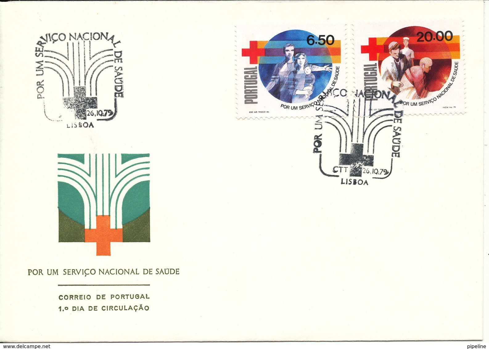 Portugal FDC 26-10-1979 RED CROSS Complete Set Of 2 With Cachet - FDC
