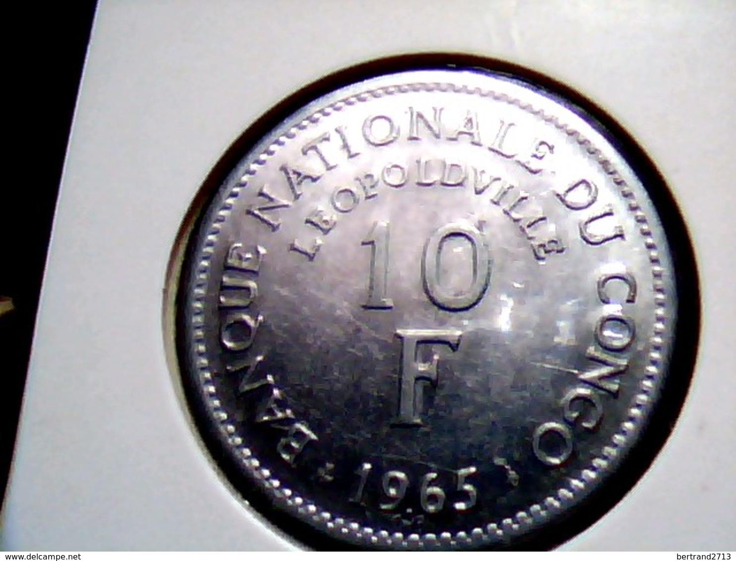 Congo Democratic Republic KM 1   10 Francs  1965 - Congo (République Démocratique 1998)
