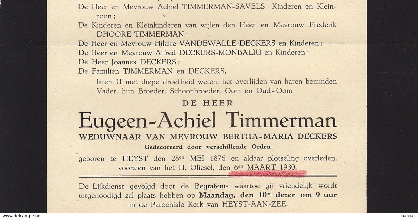 Faire Part De Décès Eugeen Timmerman Deckers Heyst - Overlijden