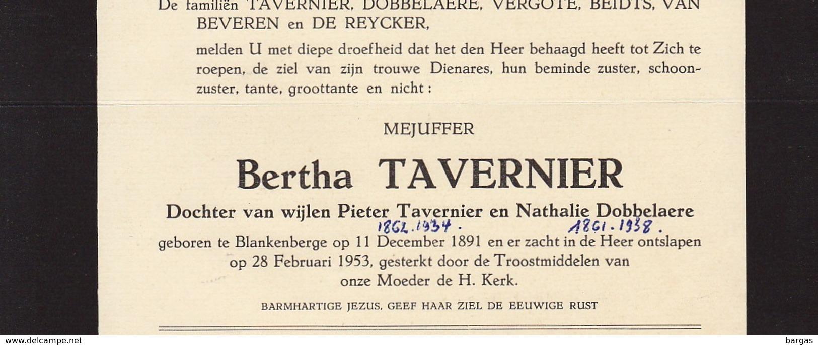 Faire Part De Décès Bertha Tavernier Blankenberge - Overlijden