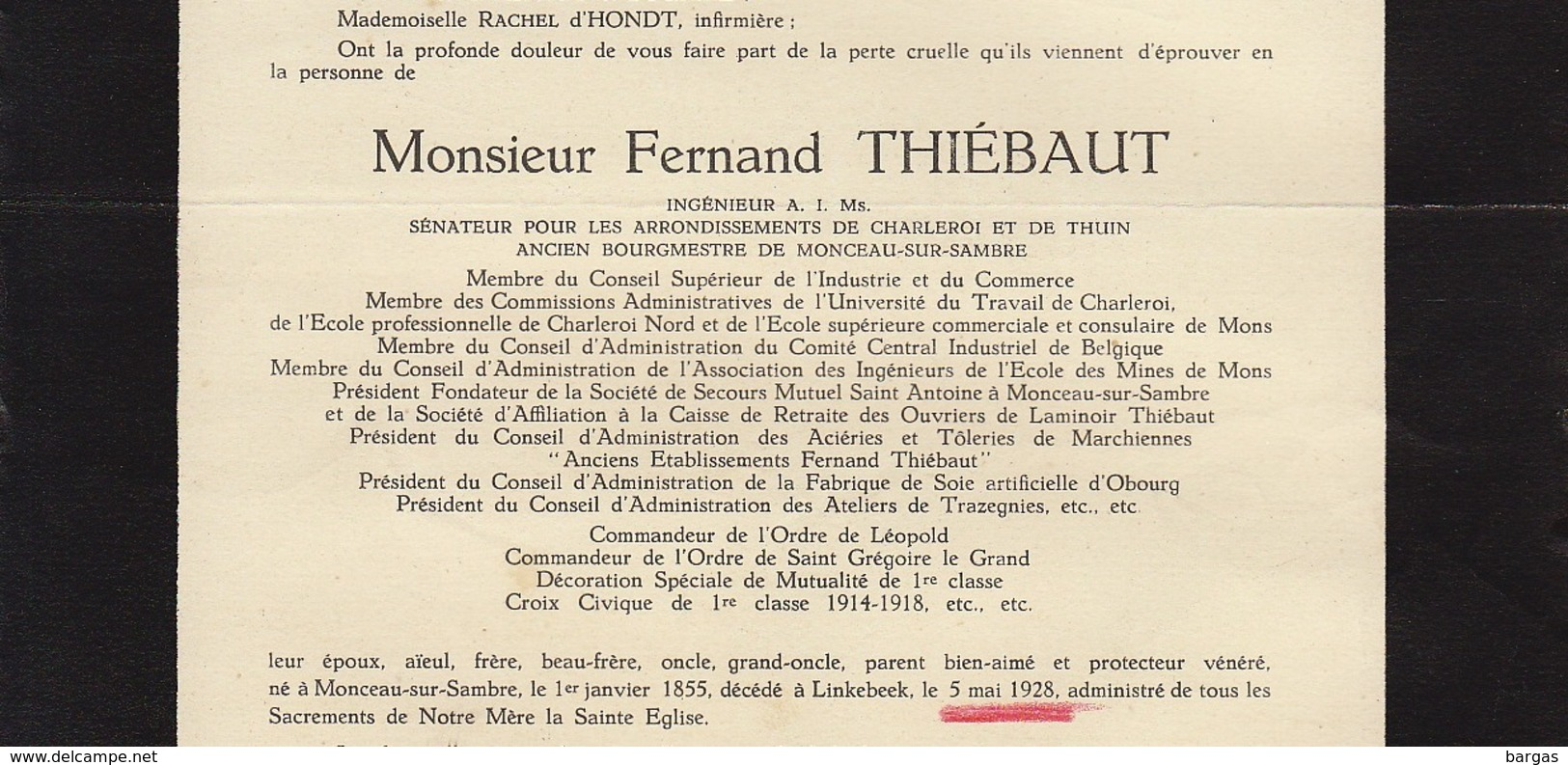 Faire Part De Décès Fernand Thiébaut Sénateur Monceau Sur Sambre - Overlijden