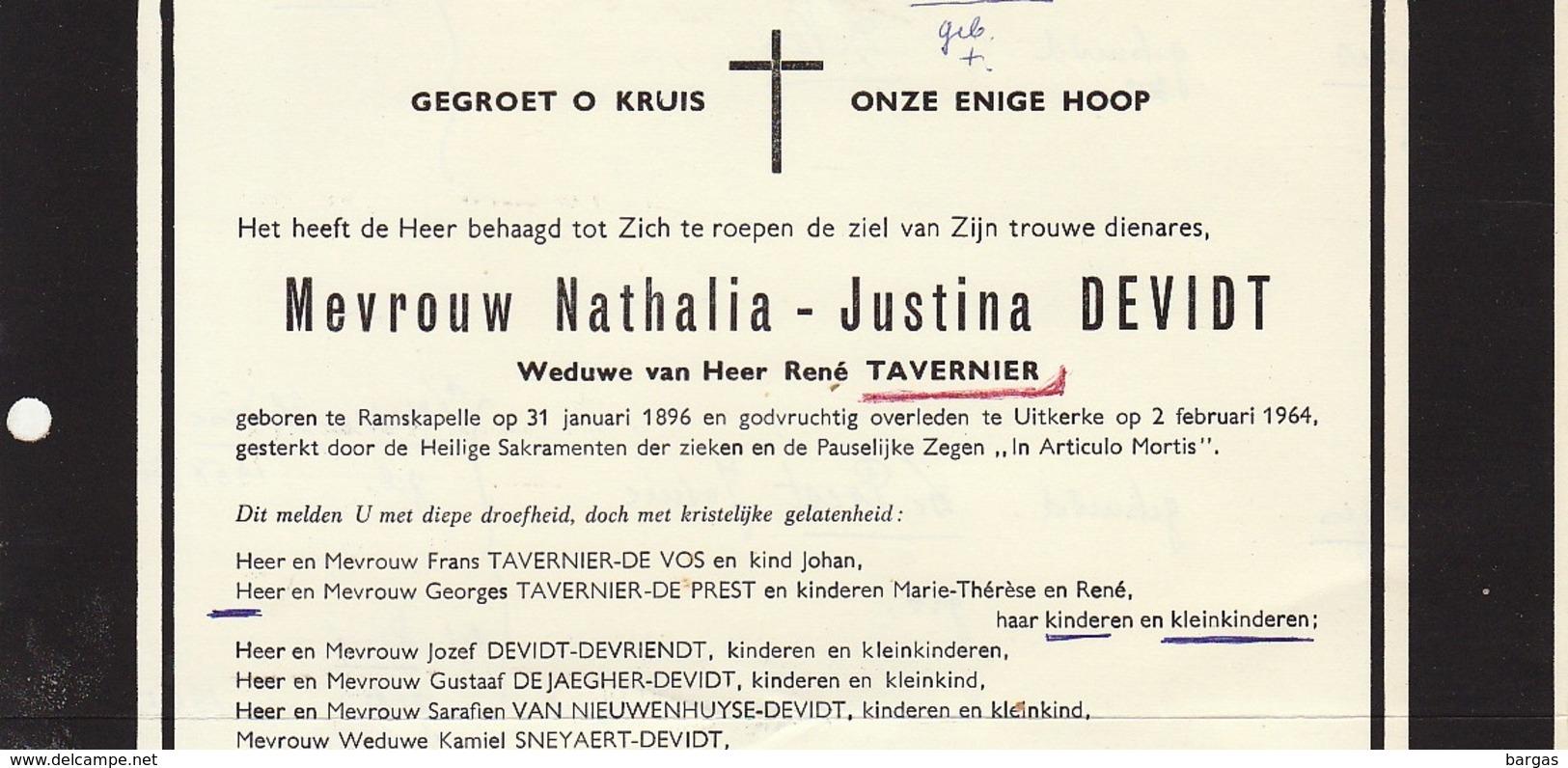 Faire Part De Décès Nathalia Devidt Tavernier Ramskapelle Uitkerke - Overlijden