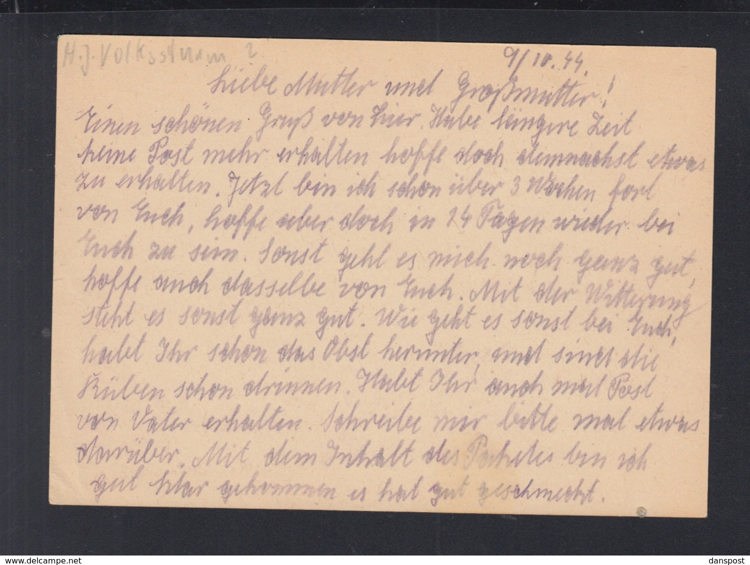 Dt. Reich GSK 1944 Süderlügum Hitler-Jugend Bahn Schleswig - Briefe U. Dokumente