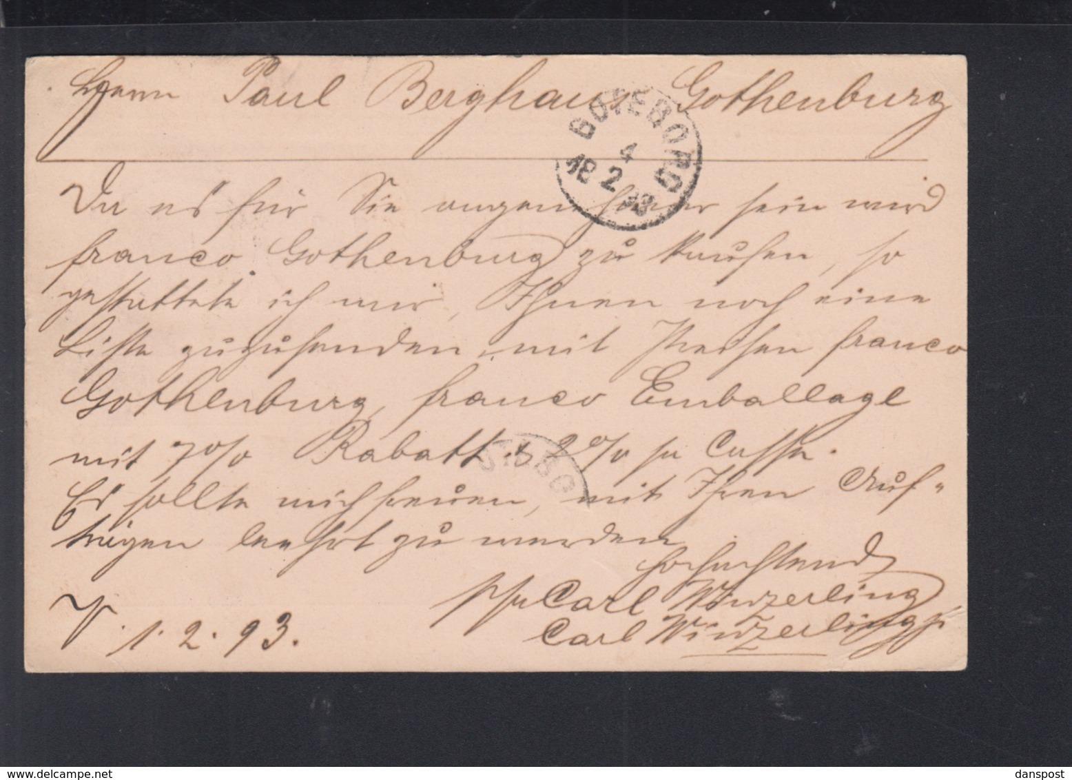 Dt. Reich PK 1893 Volmarstein Nach Schweden - Deutschland