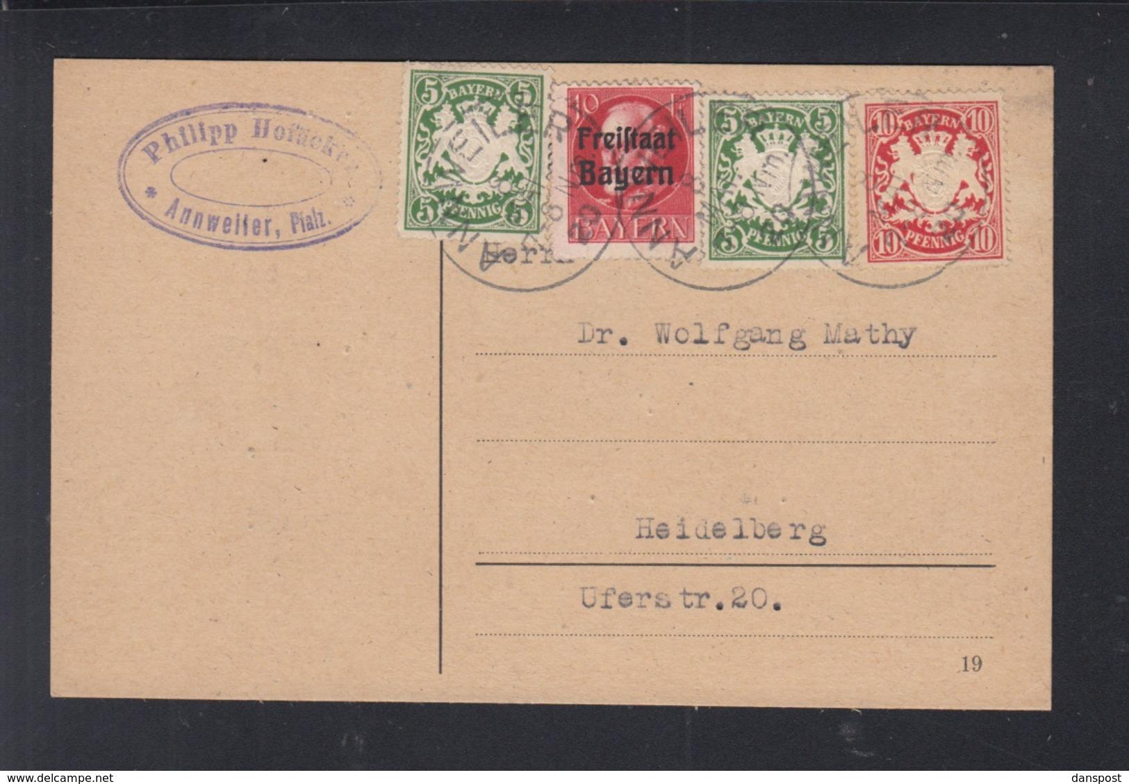 Bayern PK 1920 Anweiler Nach Heidelberg - Bayern