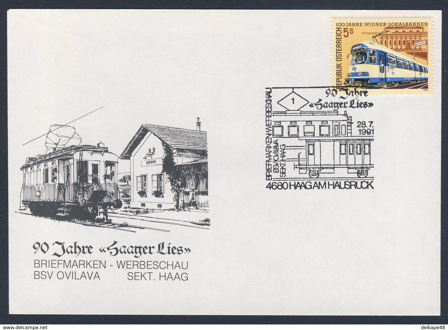 """Austria Österreich 1991 Cover / Brief / Lettre - 90 Jahre """"Saager Lies"""" - Briefmarkenwerbeschau / Railway + Exhibition - Treinen"""