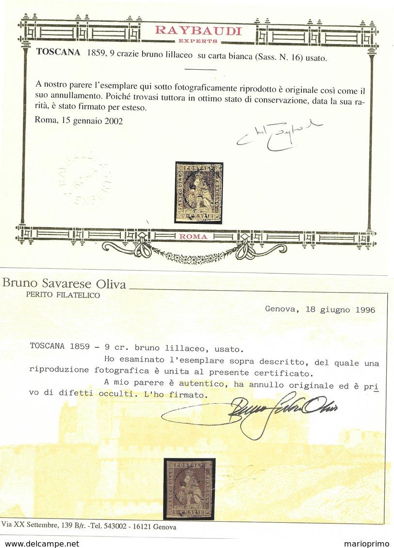 Toscana 9 Crazie Bruno Lillaceo Su Carta Bianca Usato (Certificato Raybaudi, Oliva) Sassone N.16 - Toscana