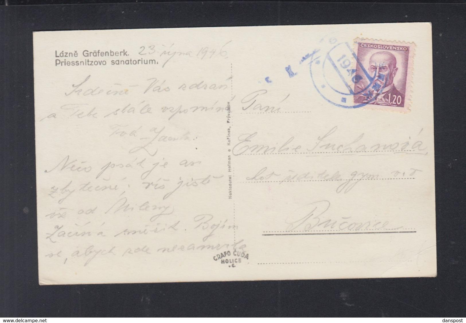 CSR AK Lazne Grafenberk 1946 Gelaufen - Briefe U. Dokumente