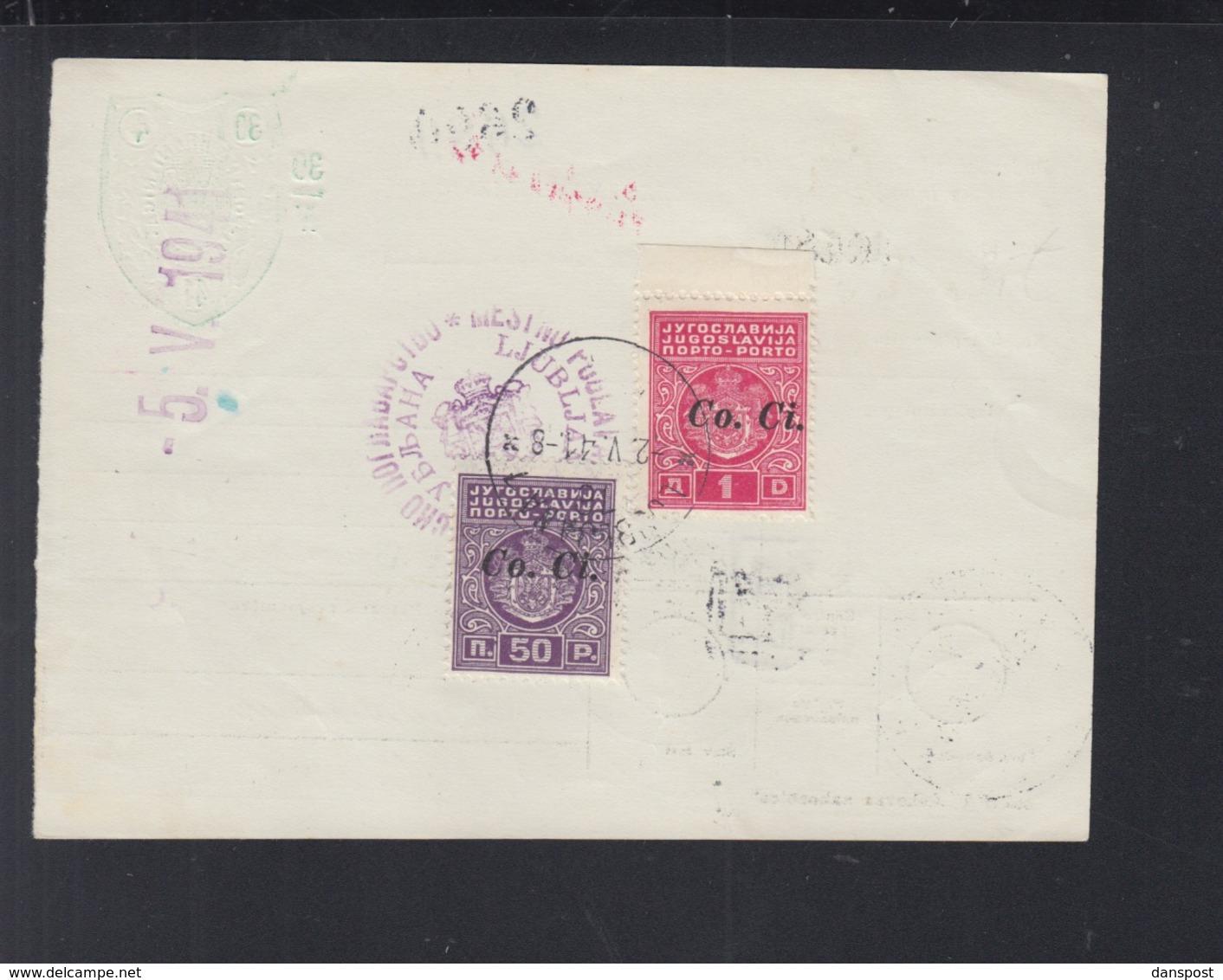 Jugoslawien Yugoslavia Geldanweisung 1941 Ljubljana - Briefe U. Dokumente