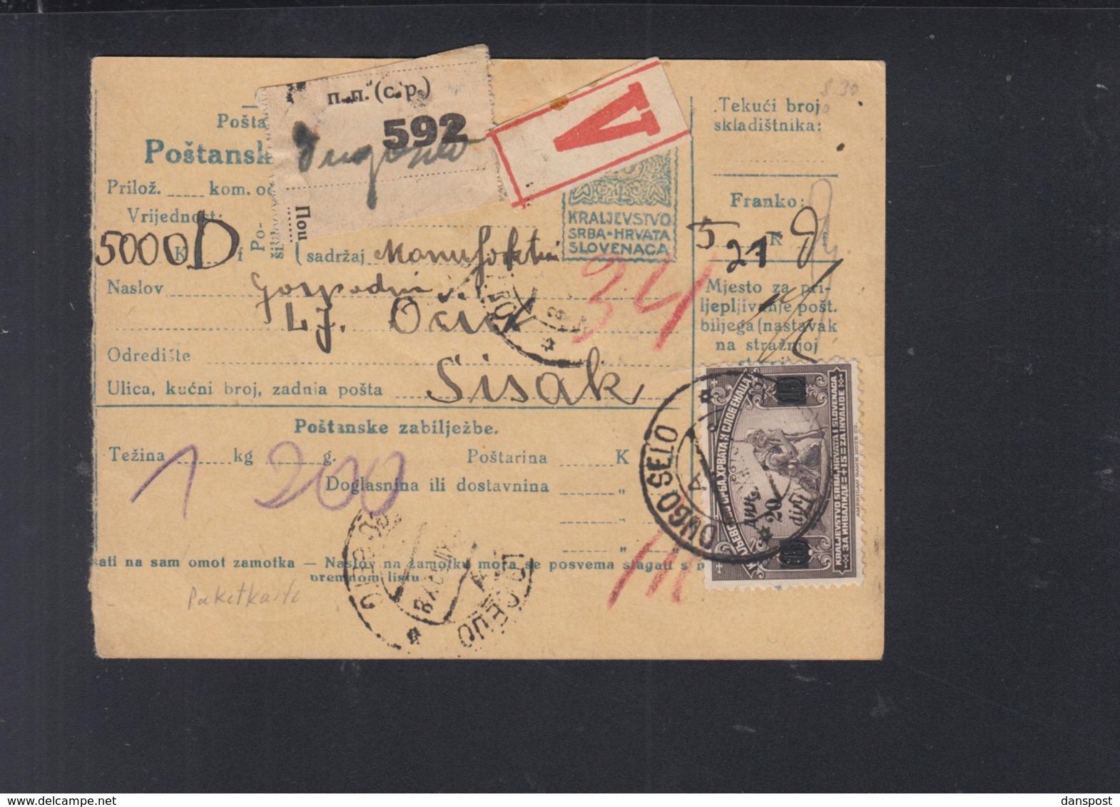 Yugoslavia Croatia Parcel Card 1923 Dugo Selo To Sisak - 1919-1929 Königreich Der Serben, Kroaten & Slowenen