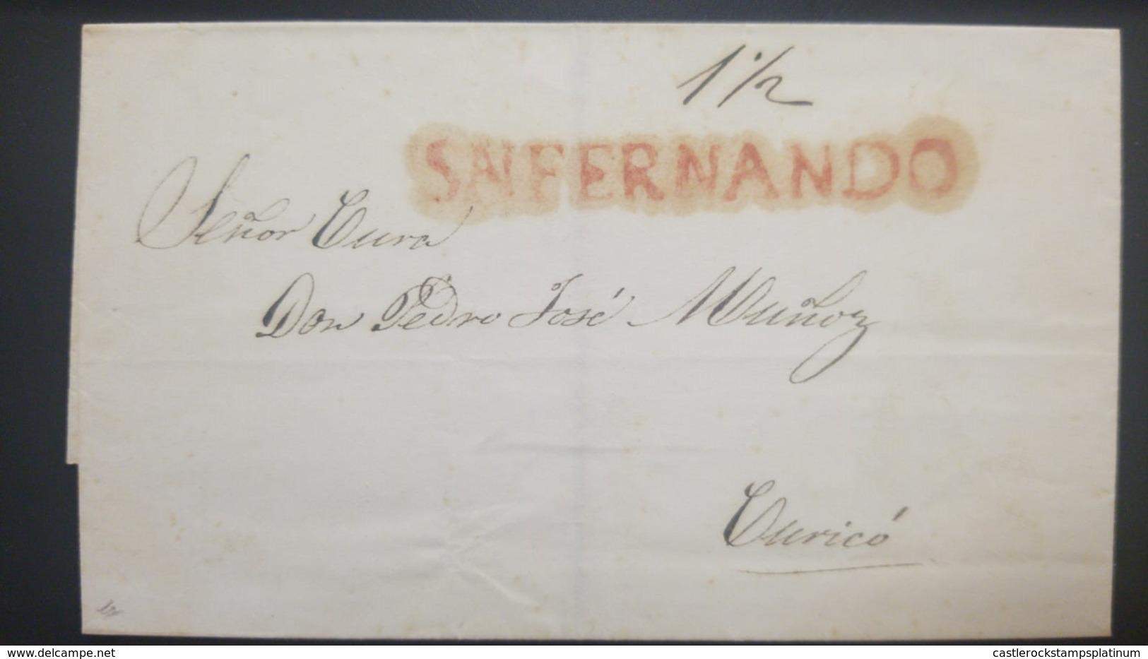 O) 1832 CHILE, PRESTAMP - PREPHILATELY, SN FERNANDO - RATED 1 1/2 REALES IN MANUSCRIPT, STRAIGHT LINE HANDSTAMP OF DESPA - Chile