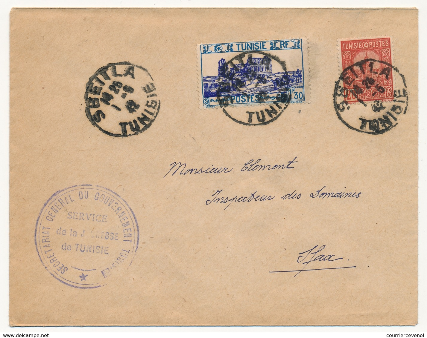 TUNISIE - Enveloppe Depuis SBEITLA (Tunisie) 1942 - Service De La Jeunesse De Tunisie - Tunisie (1888-1955)