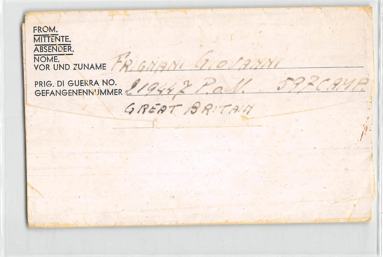 13111 ITALIAN PRISONER OF WAR POST - P.O.W. CAMP 597 GREAT BRITAIN    TO FERRARA - 1902-1951 (Rois)