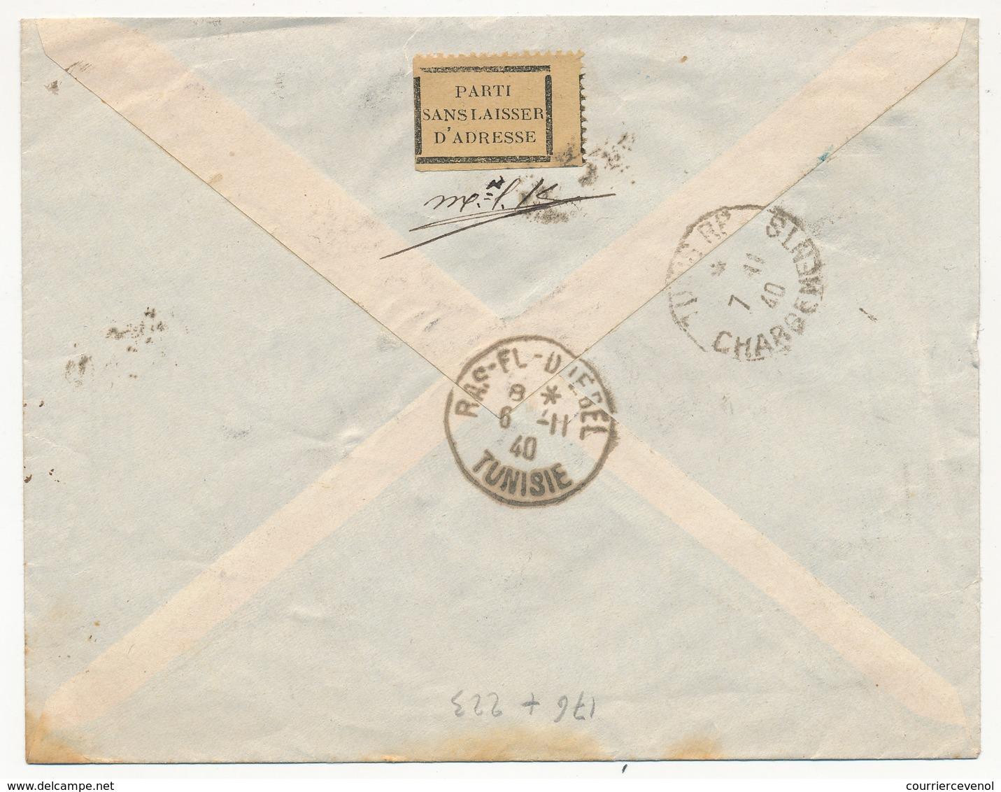 TUNISIE - Env. Recommandée De TUNIS-ROUSTAN Pour RAS-DJEBEL - Retour à L'envoyeur 38 - 1940 - Tunisie (1888-1955)