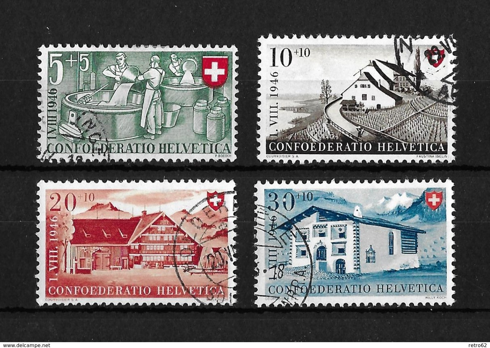 1946 PRO PATRIA → Arbeit Und Schweizer Haus II   ►SBK-B30 Bis B33◄ - Oblitérés