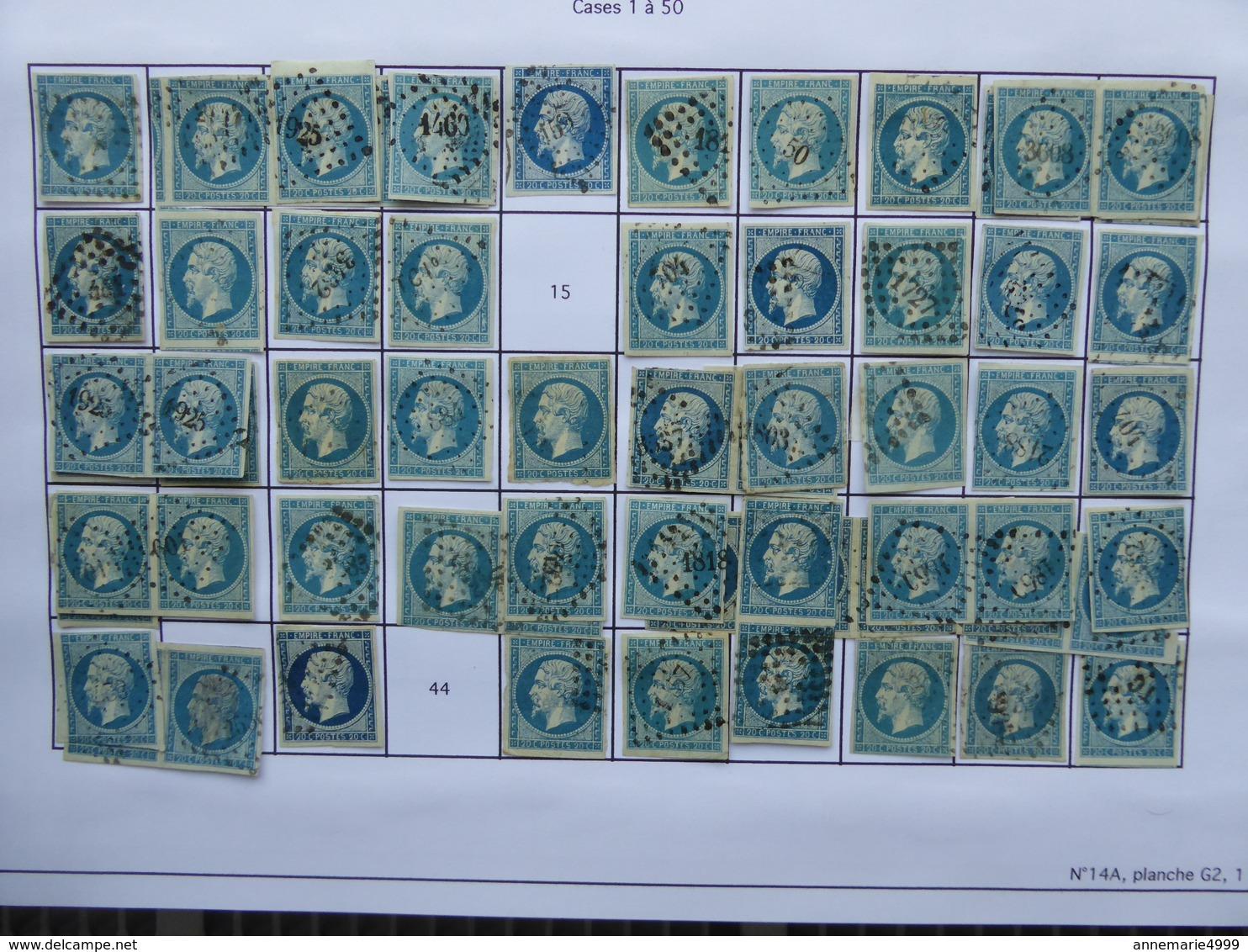 FRANCE PLANCHAGE Du Numéro 14A Type I Panneau G2 , COMPLET SAUF 6 TIMBRES  Voir Scan, Travail De Spécialiste - 1853-1860 Napoléon III