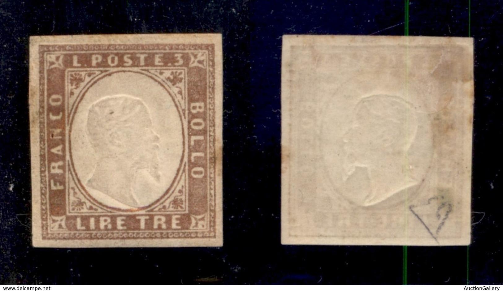 ANTICHI STATI ITALIANI - SARDEGNA - 1861 - 3 Lire (18) - Gomma Originale - Diena (700) - Timbres