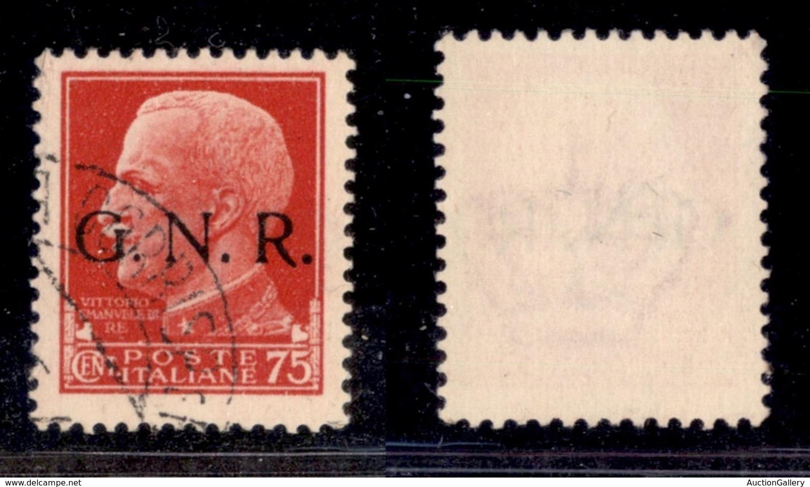 RSI - G.N.R. VERONA - 1944 - 75 Cent (478iab) Usato A Verona (Titolare) - Punto Piccolo Dopo G - Cert. AG - Timbres