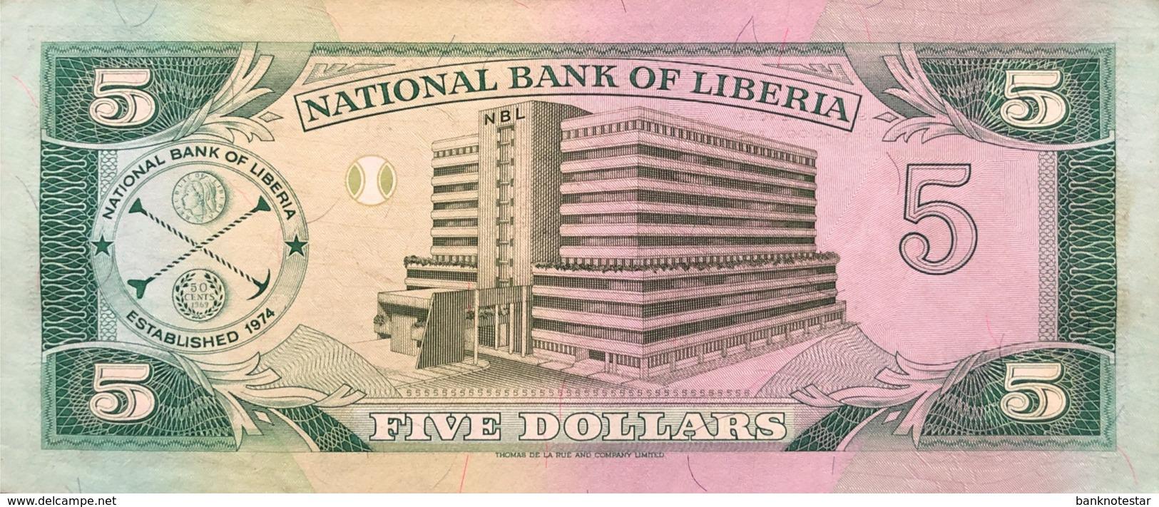 Liberia 5 Dollars, P-20 (6.4.1991) - AU - Liberia