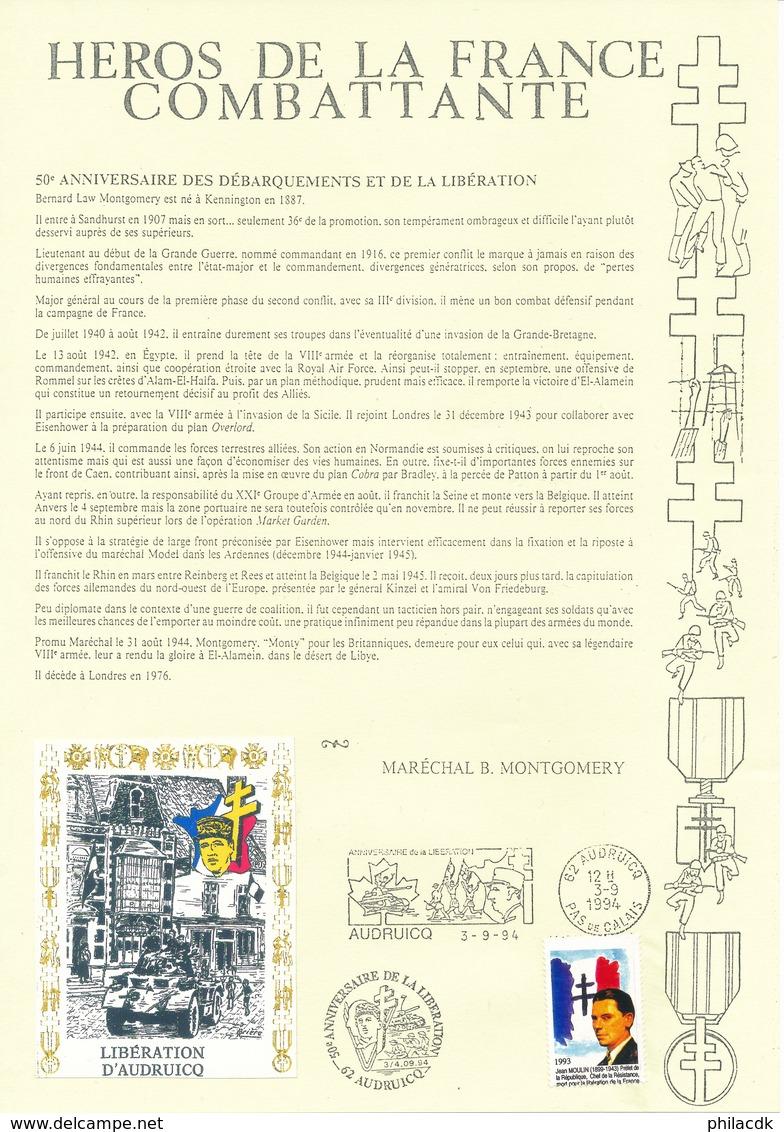 FRANCE - BELLE COLLECTION DE 34 DOCUMENTS HEROS DE LA FRANCE COMBATTANTE AVEC TIMBRES OU VIGNETTES OBLITERES - Guerre Mondiale (Seconde)