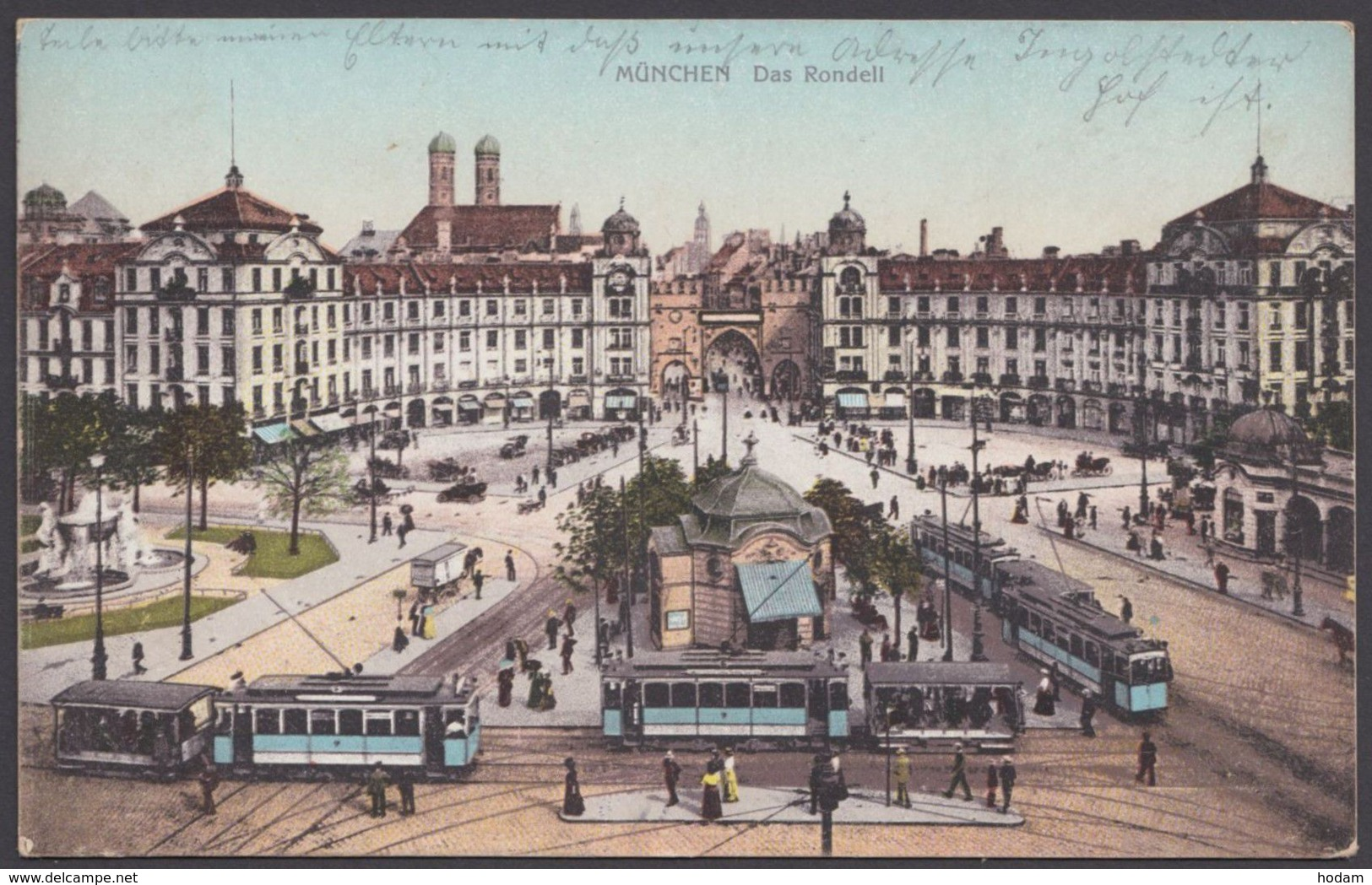 """""""München"""", Rondell, Farbig, Mit Straßenbahnen, 1909 Gelaufen - München"""