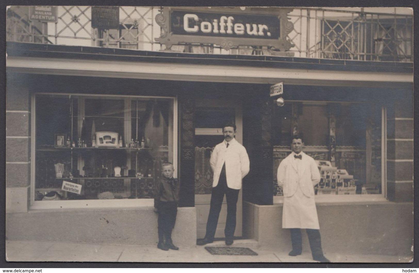 """""""Rüschlikon"""", Foto-AK """"Coiffeur"""", 1913 Gelaufen - Ohne Zuordnung"""