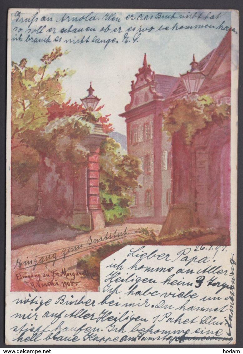 """""""Waldkirch"""", Farbige Künstlerkarte, Sign. 1905, 1907 Gelaufen - Waldkirch"""