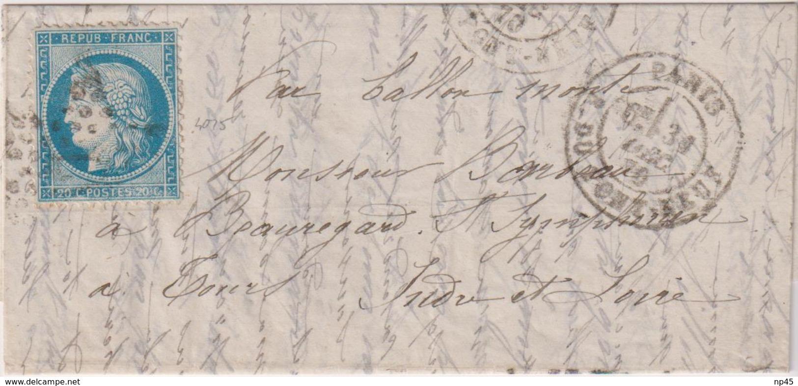 FRANCE                           BALLON MONTE  POUR TOURS DEPART LE 31  DECEMBRE 1870  TB - Marcophilie (Lettres)