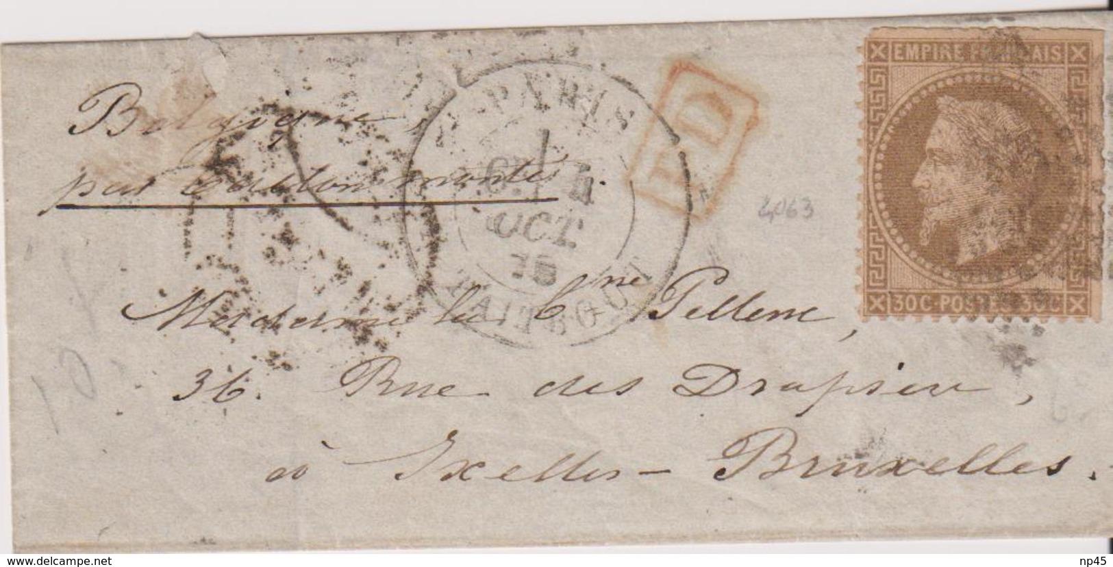 FRANCE                           BALLON MONTE  POUR BRUXELLES DEPART LE 4 OCTOBRE  1870  TB - 1849-1876: Période Classique